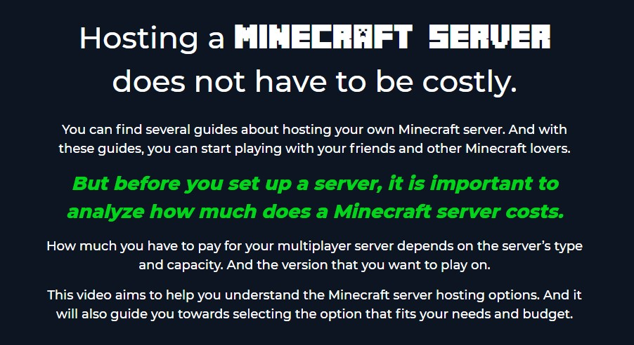 hosting-for-Minecraft-cost