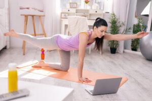 Serious woman having an online training